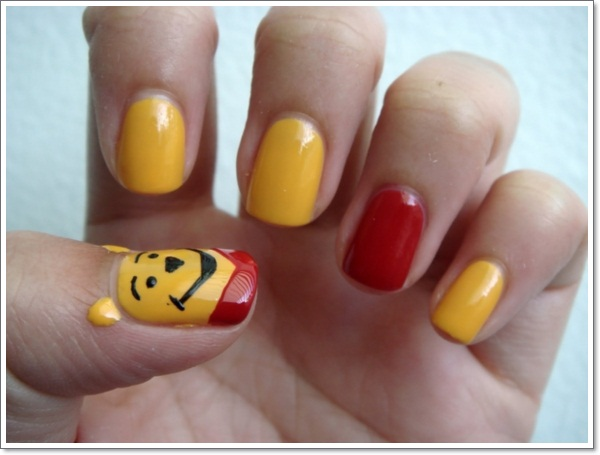 Yellow Black And Red Color Cartoon Nail Art