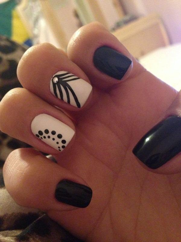 Cute Yellow Black And White Nail Design