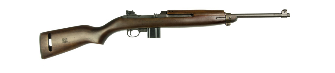 Inland 1944 M1 Carbine with 10-round magazine and Type-2 barrel band absent the bayonet lug