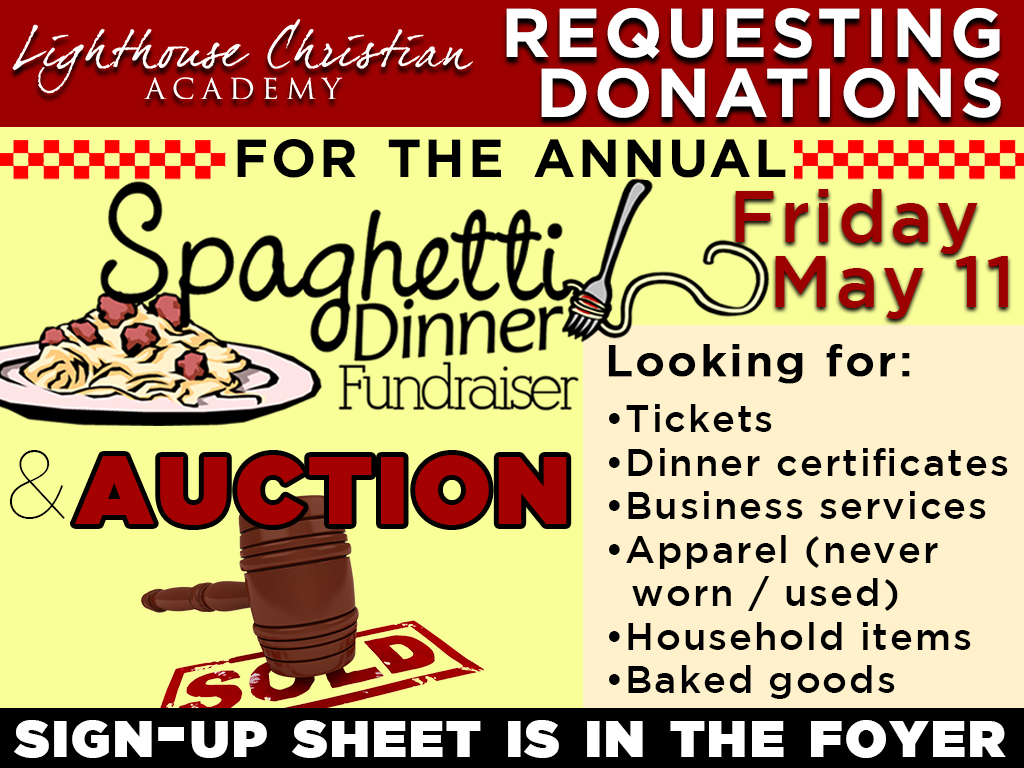 LCA Spaghetti Dinner & Auction | May 11, 2018