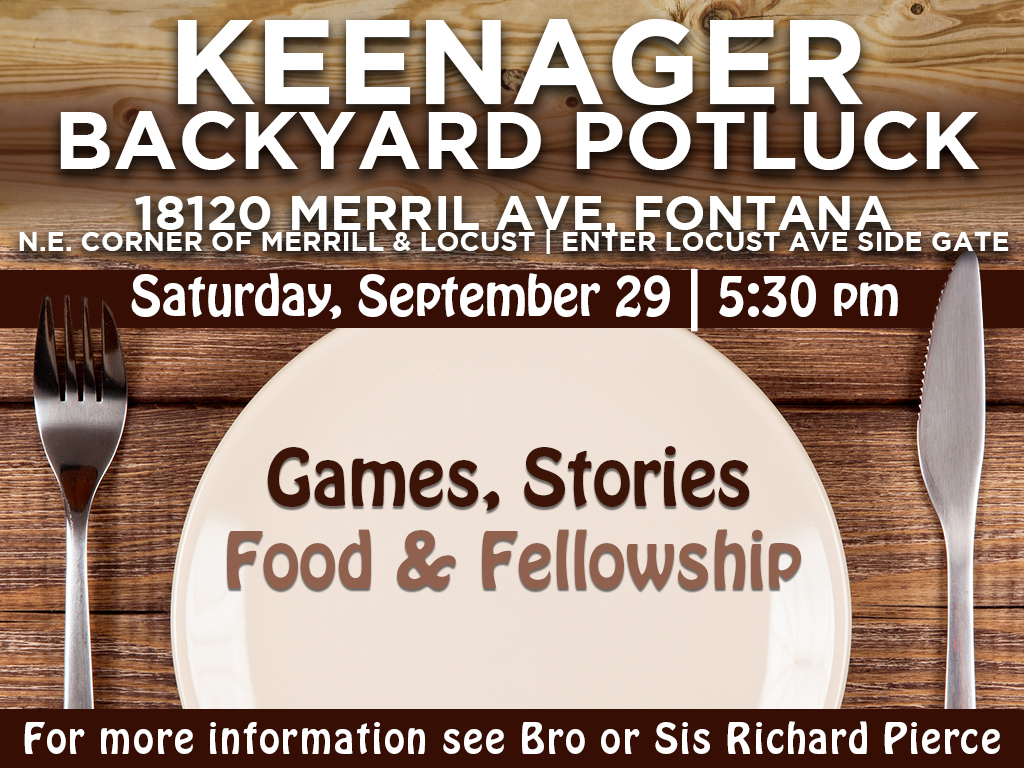 Keenagers Potluck | September 29, 2018