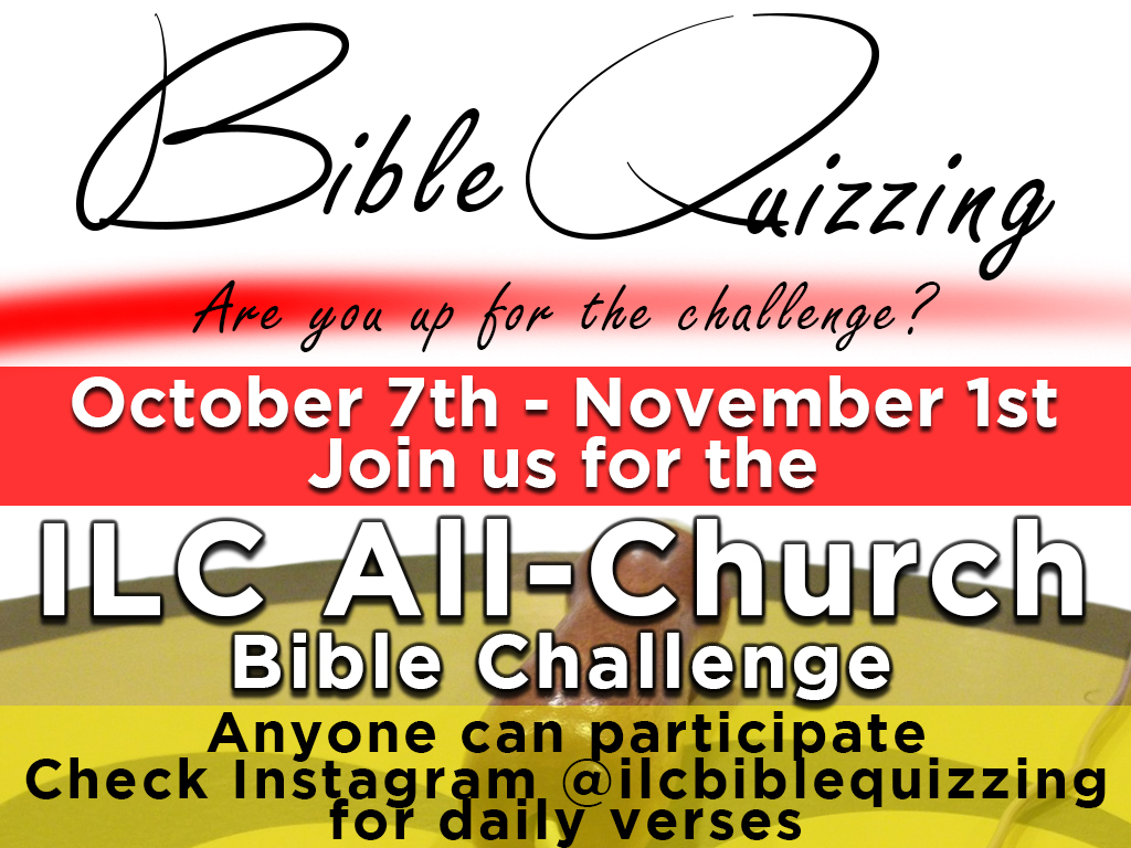 ILC Bible Challenge | Oct 7 – Nov 1, 2019