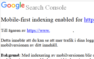 Googles mobile first index