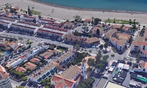La Cala del Moral, su Iglesia y nuestras oficinas (vista desde Google Earth)