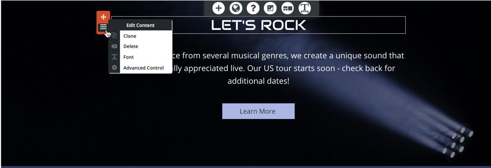 BoldGrid block menu
