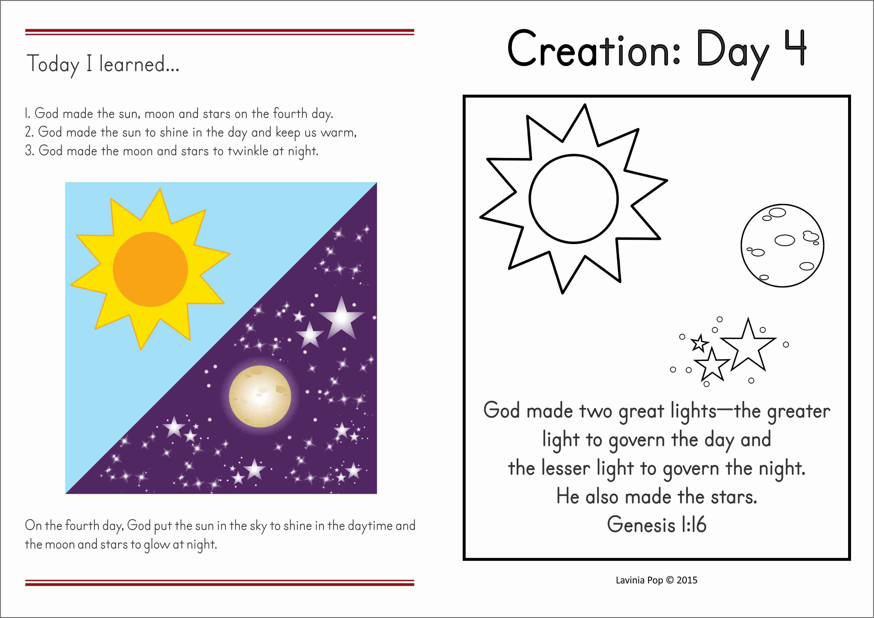 Sunday School Creation Sun Moon And Stars