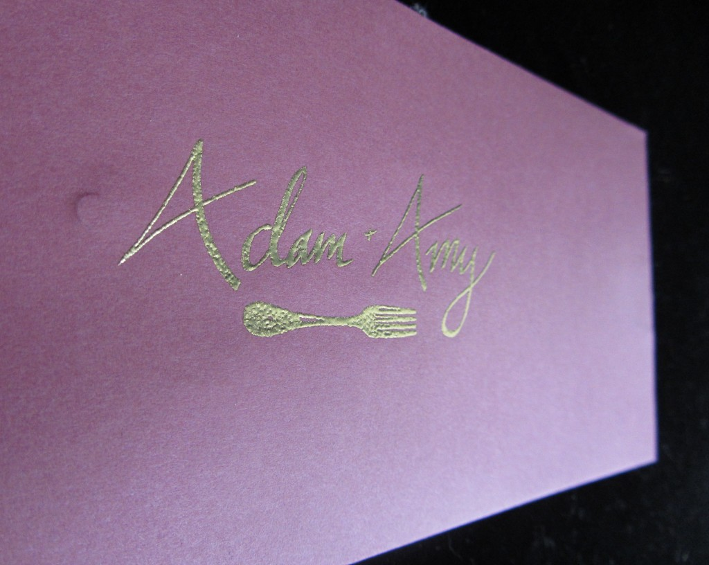 Embossed with calligraphy pen and rubber stamp