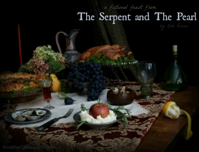 The Serpent and the Pearl fictional feast, with Peach Crostata, Milk Snow, and Roast Duck
