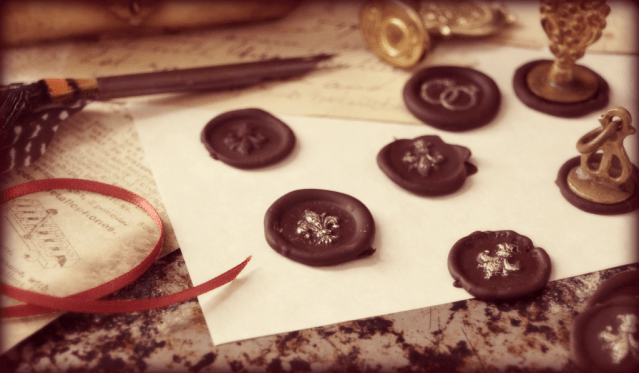 Chocolate Wax Seals, a delicious garnish for special desserts. From The Inn at the Crossroads.