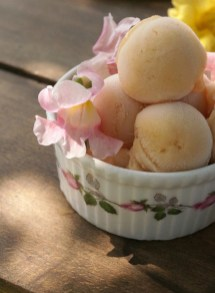 Peach Sorbet with pea blossoms