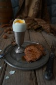 breakfast of eggs and acorn cakes