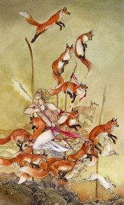 5 of Wands from The Shadowscapes Tarot by Stephanie Pui-Mun Law