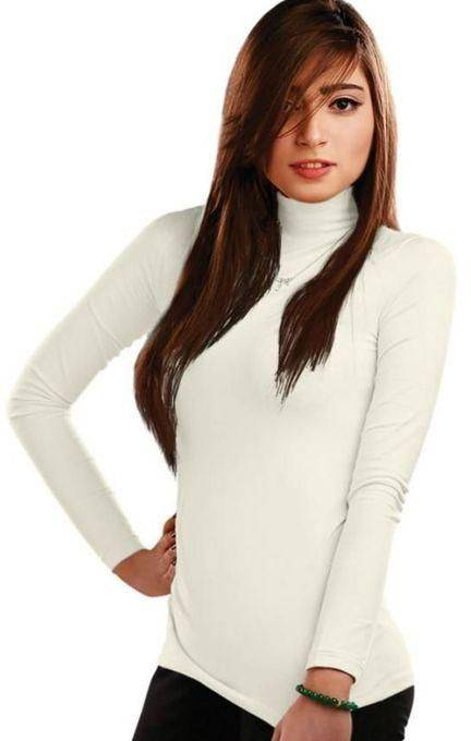 Ladies High Neck Turtle Neck White Front Side