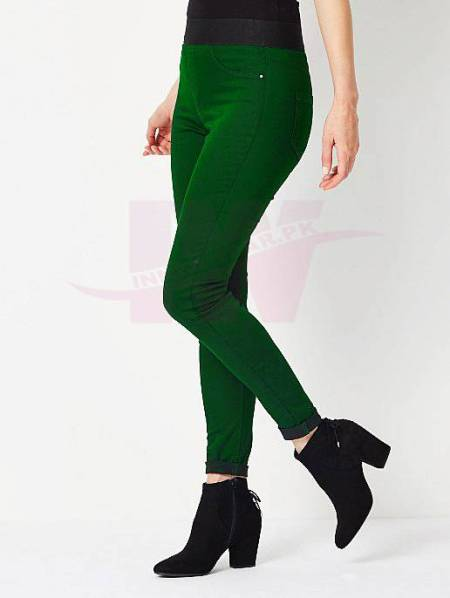 Ladies Denim Tights Green One Size Front Size
