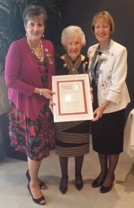 Margarette Golding Award recipient Nona Dart with Past President & National Representative Kay Morland and A50 District Chairman Lesley Carter