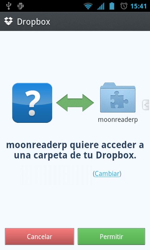 Permiso de acceso a Dropbox