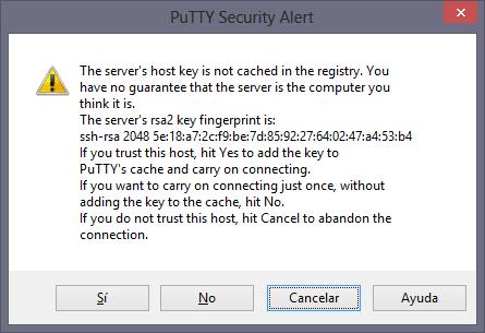 Conexión con el servidor SSH de la Raspberry Pi