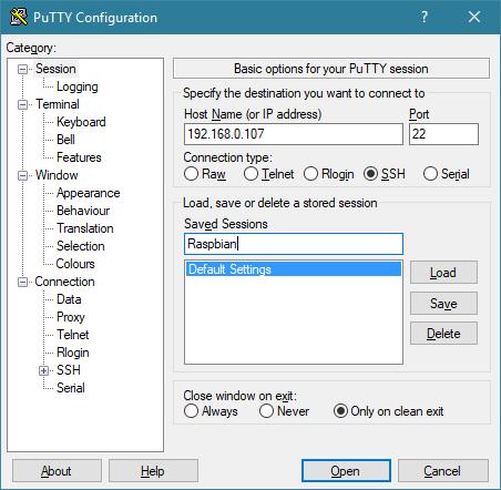 Configuración de Putty para acceder a la Raspbian