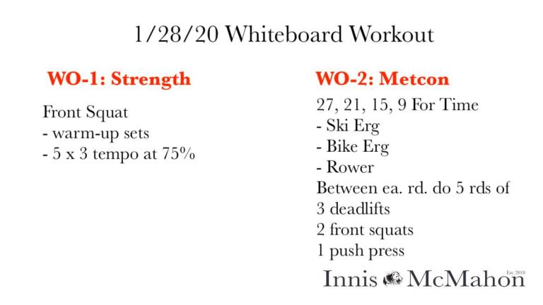 Workout routine for January 28th
