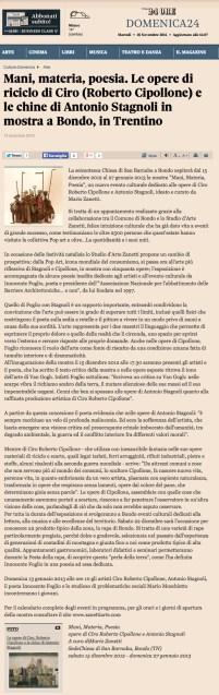 Mani, materia, poesia articolo Ilsole24ore.it