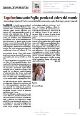 Bagolino Innocente Foglio Poesia sul dolore del mondo - Giornale di Brescia