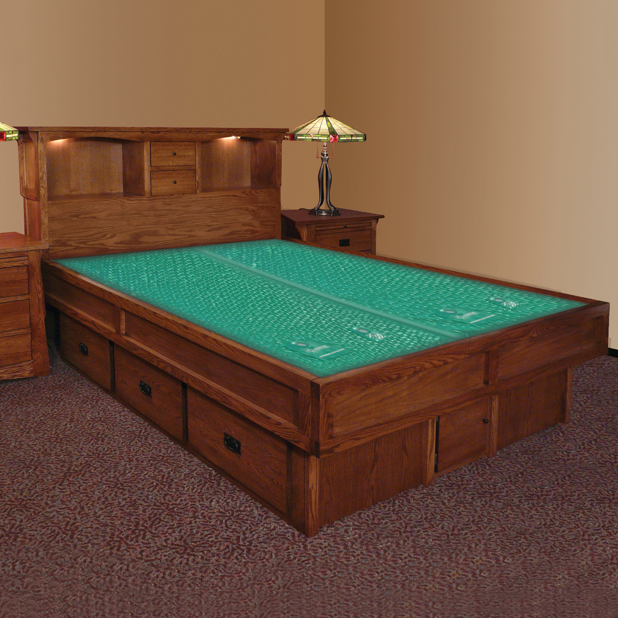 mission creek waterbed with bookcase