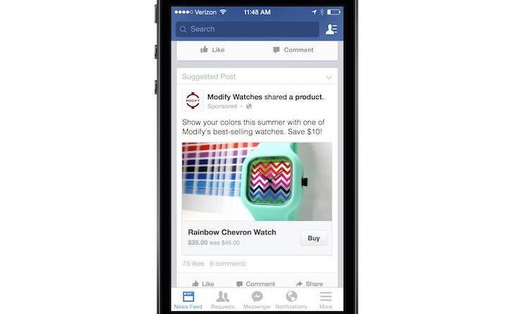 Покупки прямо из мобильного приложения Facebook