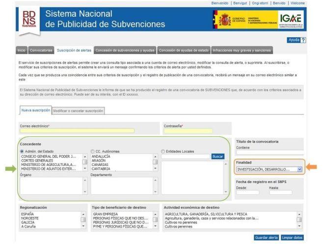 Sistema Nacional de Publicidad de Subvenciones - Suscripción Alertas