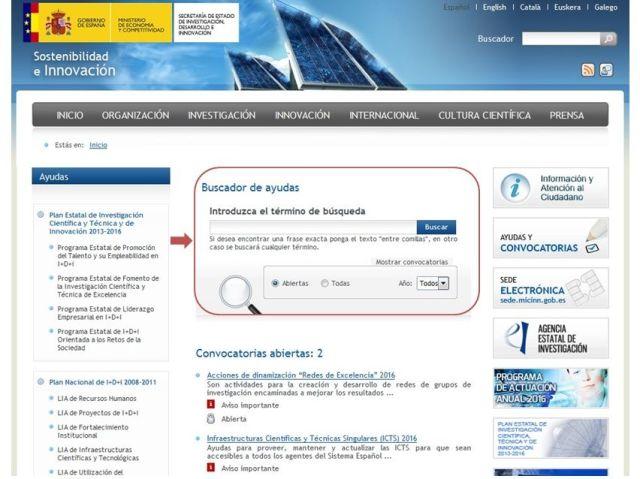 Ministerio de Economía y Competitividad - Buscador