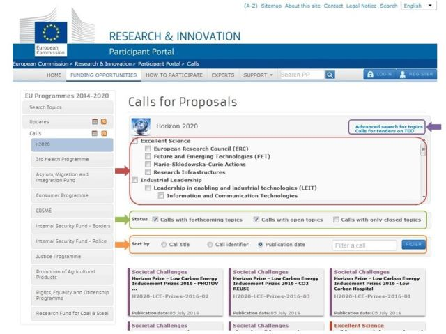 Portal del Participante - Buscador de financiación H2020