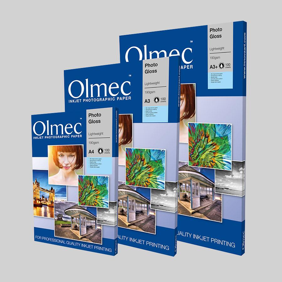 Olmec Photo Gloss Lightweight 190gsm Sheet Format Resin Coated Inkjet Photo Paper