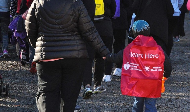 Heart and stroke walk, boy with cape