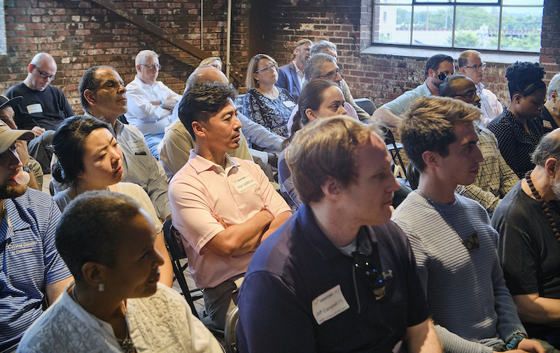 Group of young professionals attending an entrepreneurial workshop in Winston-Salem.