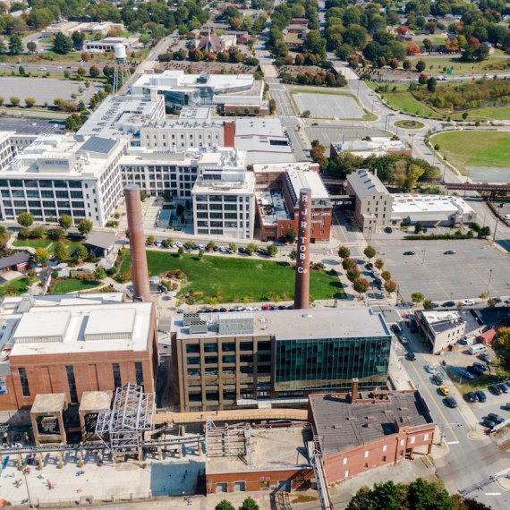 Aerial shot of Winston-Salem's Innovation Quarter, a mixed-use neighborhood perfect for startups.