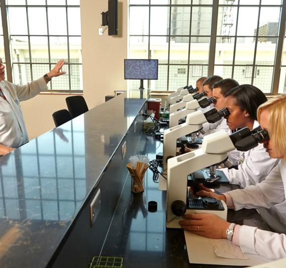 Winston-Salem students looking through microscopes.