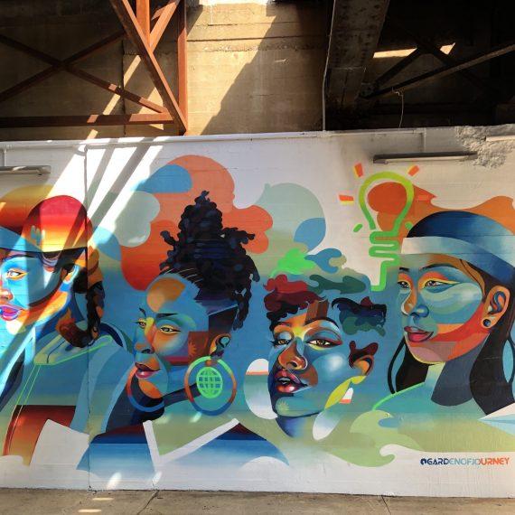 """""""Aspire to Inspire"""" art mural by Georgie Nakima"""
