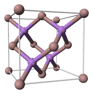Ball and stick cell model of gallium arsenide