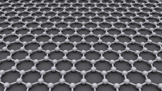 The hexagonal grid structure of graphene (Image: AlexanderAlUS via Wikipedia)