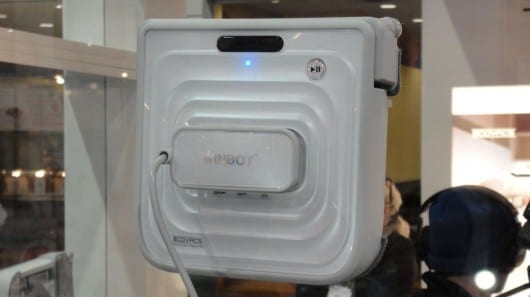 Winbot 7 window cleaning robot uses a vacuum seal to stick to the glass