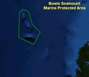 English: Green outline indicates the boundaries of Bowie Seamount Marine Protected Area. (Photo credit: Wikipedia)