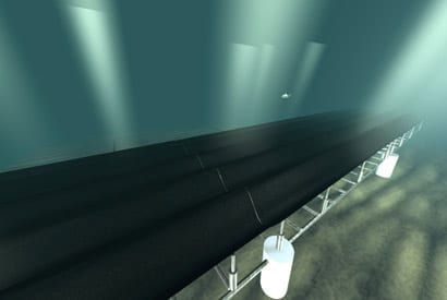 Seafloor carpet catches waves to generate energy