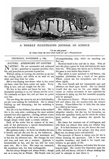 Cover of the first issue of Nature, 4 November 1869. (Photo credit: Wikipedia)