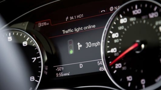 The Audi traffic light system uses icon prompts