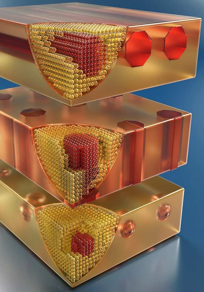 [Right: Artist's concept of nanometer-size metallic wires and metallic particles embedded in semiconductors, as grown by Dr. Hong Lu. Credit: Peter Allen, UCSB]