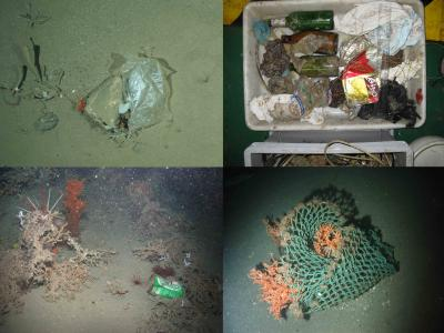 This shows litter items on the seafloor of European waters. Clockwise from top left i) Plastic bag recorded by an OFOS at the HAUSGARTEN observatory (Arctic) at 2500 m; ii = Litter recovered within the net of a trawl in Blanes open slope at 1500 m during the PROMETO 5 cruise on board the R/V