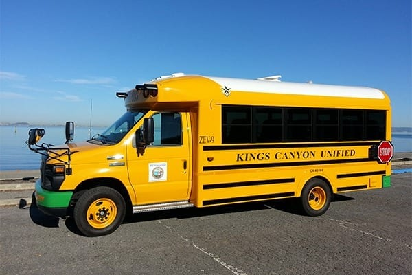 Electric school buses, such as the Trans Tech model shown here, could save school districts millions if integrated with a vehicle-to-grid system, according to new research.