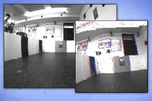 A visual odometry algorithm uses low-latency brightness change events from a Dynamic Vision Sensor (DVS) and the data from a normal camera to provide absolute brightness values. The left photograph shows the camera frame, and the right photograph shows the DVS events (displayed in red and blue) plus grayscale from the camera. Image courtesy of the researchers