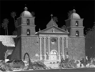 A historic building glows in this thermal image taken near Raytheon's Goleta, Calif. laboratories.