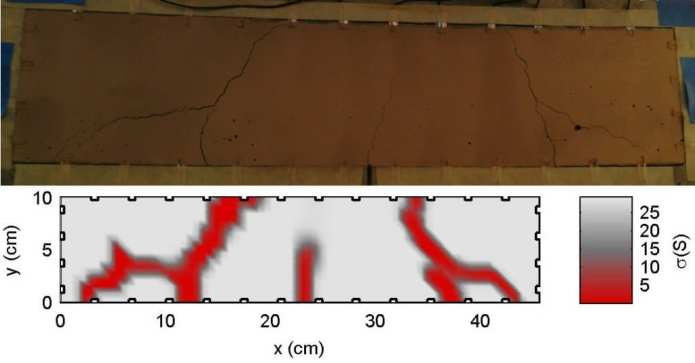 """The """"sensing skin"""" technology detects cracks in concrete (as in top image) and reports when and where the damage took place (as in bottom image)."""