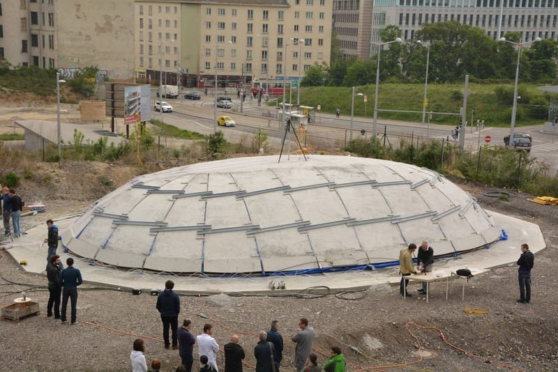 "The completed ""inflated"" concrete dome"